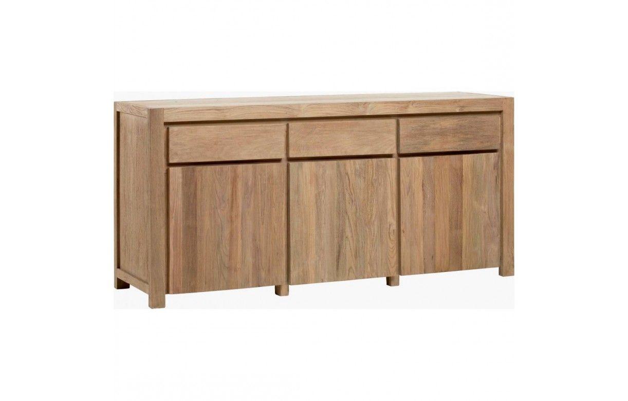 Grand buffet en bois massif de teck 3 portes 3 tiroirs - Buffet en teck massif ...