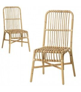 Chaise en rotin naturel empilable Valy - Lot de 2