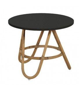 Table basse en rotin avec plateau noir