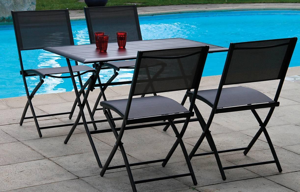 ensemble table et 4 chaises de jardin pliantes gris fonc. Black Bedroom Furniture Sets. Home Design Ideas