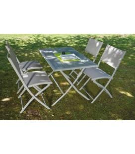 Ensemble table et 4 chaises de jardin pliantes Bayonne