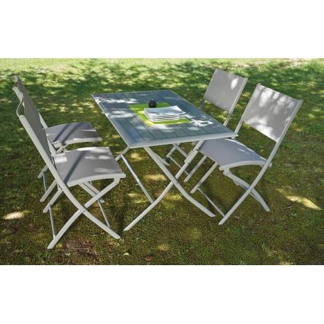 Table et 4 chaises de jardin pliantes taupe hossy - Chaises jardin pliantes ...