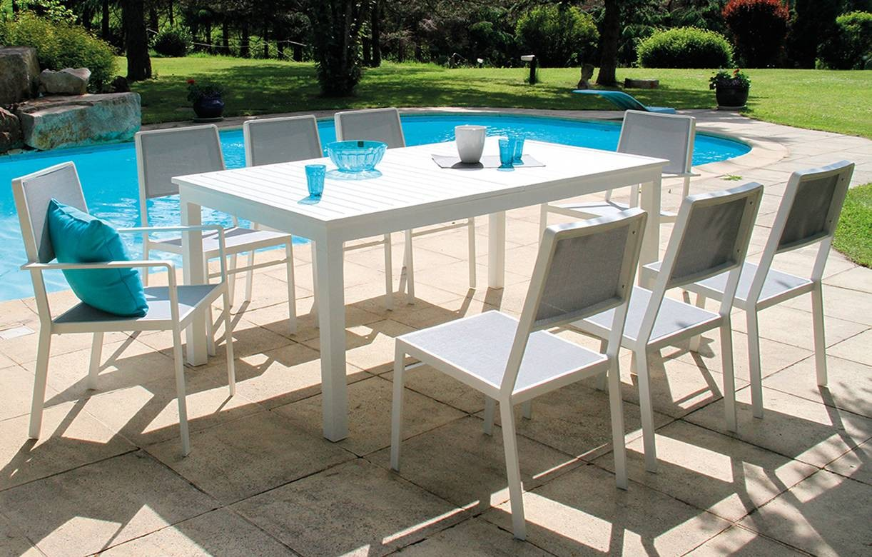 Table de jardin extensible et 8 chaises blanc et gris for Ensemble table et chaise extensible