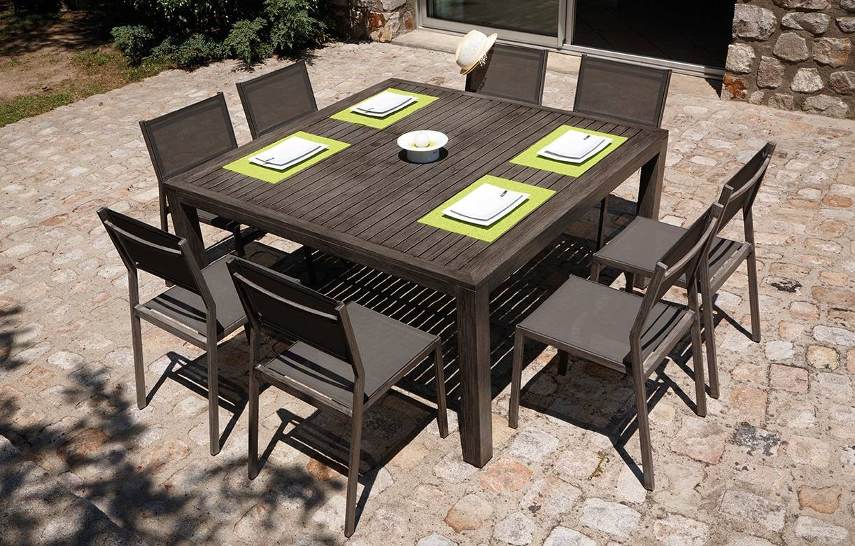 table de jardin rallonge int gr e effet bois 6 chaises. Black Bedroom Furniture Sets. Home Design Ideas