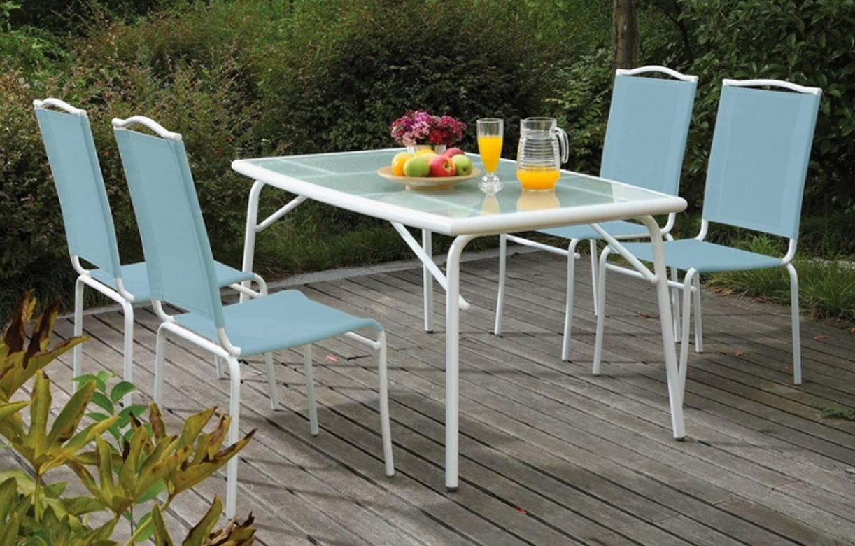 Table de jardin avec plateau en verre et 4 chaises bleues