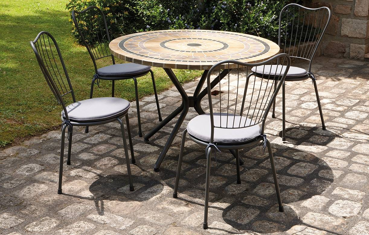 table de jardin mosaique ronde en pierre 4 chaises. Black Bedroom Furniture Sets. Home Design Ideas