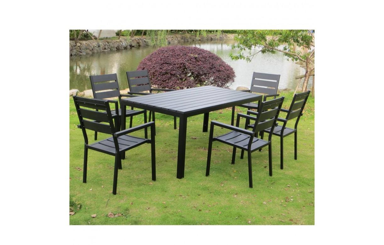 Salon De Jardin Haut Table 6 Fauteuils Noir Effet Bois