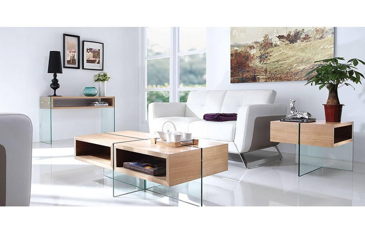 Table basse en verre et bois clair avec rangements - Tables basses en verre ...