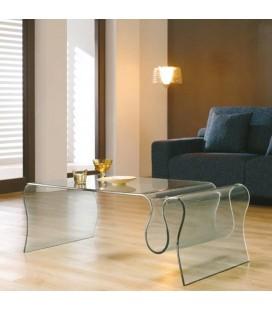 Table basse design en verre trempé courbé Zigy