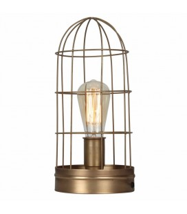 Lampe à poser vintage bronze cage en métal