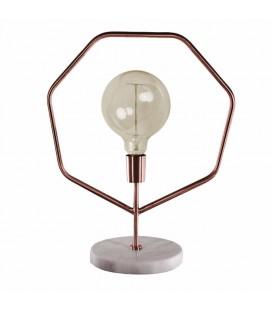 Lampe à poser vintage marbre et métal cuivré 50cm