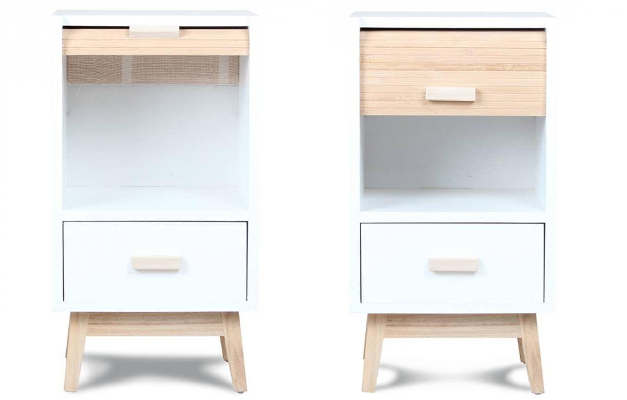 Table de chevet scandinave bois et blanc avec tiroir roll - Table de chevet bois blanc ...
