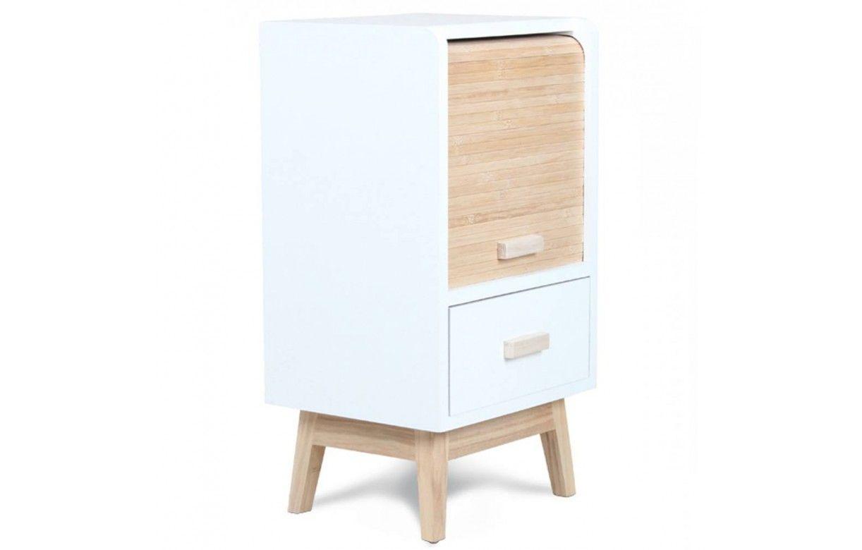 table de chevet scandinave bois et blanc avec tiroir roll. Black Bedroom Furniture Sets. Home Design Ideas