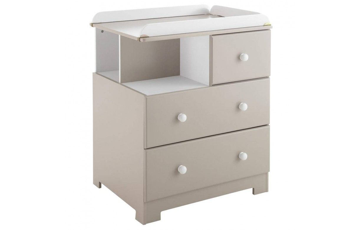 Commode table langer taupe 3 tiroirs bali - Commode couleur taupe ...