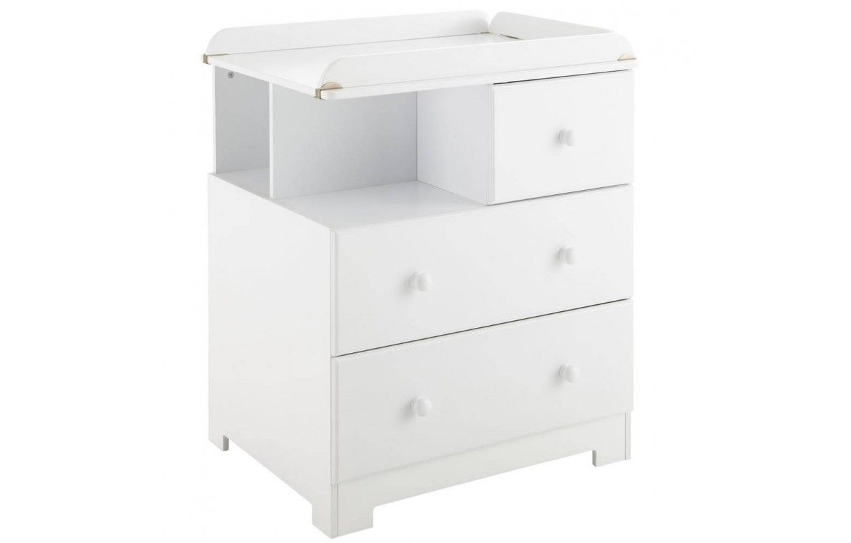 Commode b b table langer blanche 3 tiroirs bali - Commode a langer blanche ...