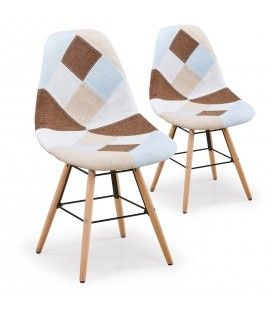 Lot de 2 chaises design scandinave Patchwork marron et beige