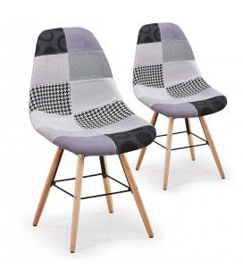 Chaise grise scandinave design Patchwork- Lot de 2