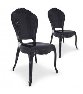 Chaise style baroque en PVC noir - Lot de 2