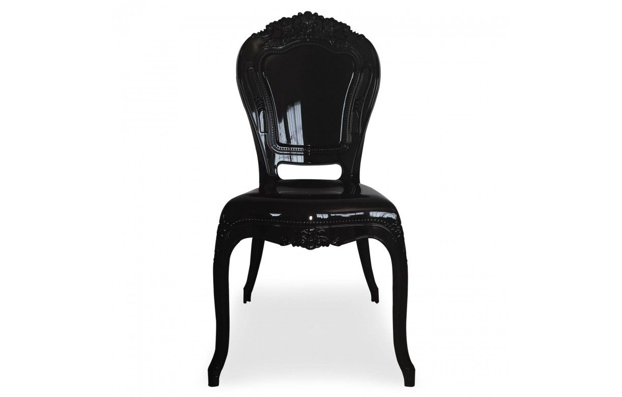 chaise style baroque en pvc noir fum lot de 2. Black Bedroom Furniture Sets. Home Design Ideas