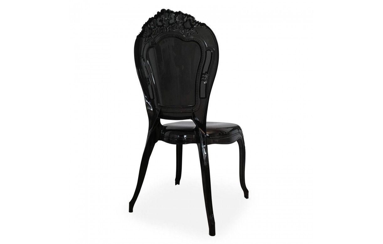 Chaise style baroque en pvc noir fum lot de 2 - Chaise baroque noir ...