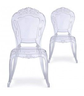 Chaise transparente style baroque - Lot de 2