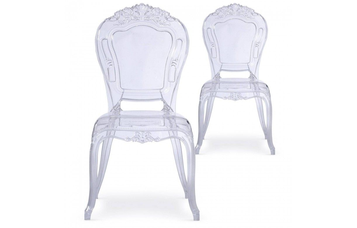 chaise transparente style baroque lot de 2. Black Bedroom Furniture Sets. Home Design Ideas