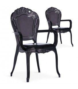 Chaise style baroque noire avec accoudoirs - Lot de 2