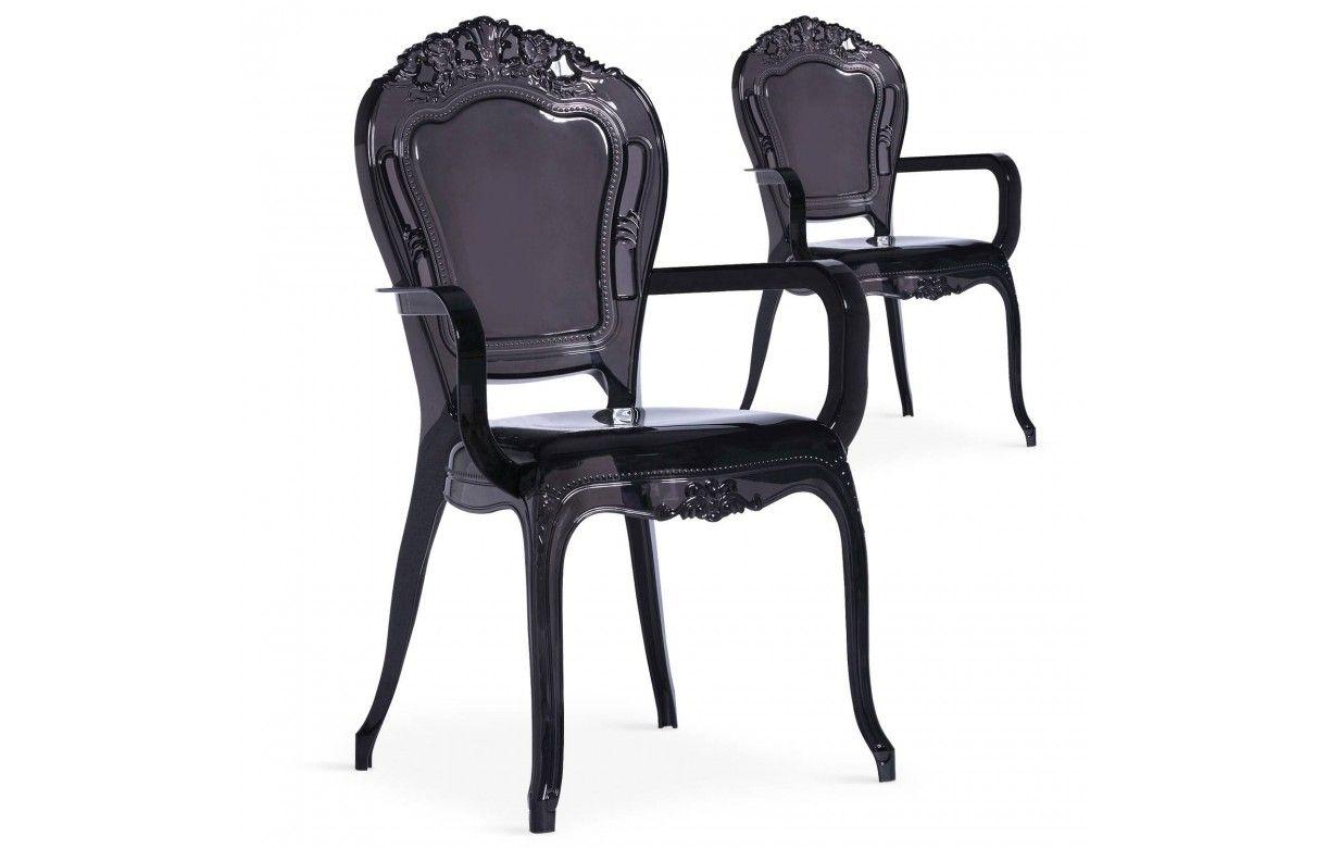 Chaise style baroque noire avec accoudoirs lot de 2 for Chaise baroque avec accoudoir