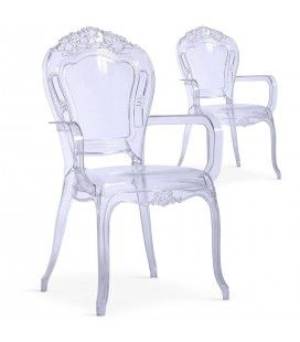 Chaise avec accoudoirs style baroque transparente - Lot de 2