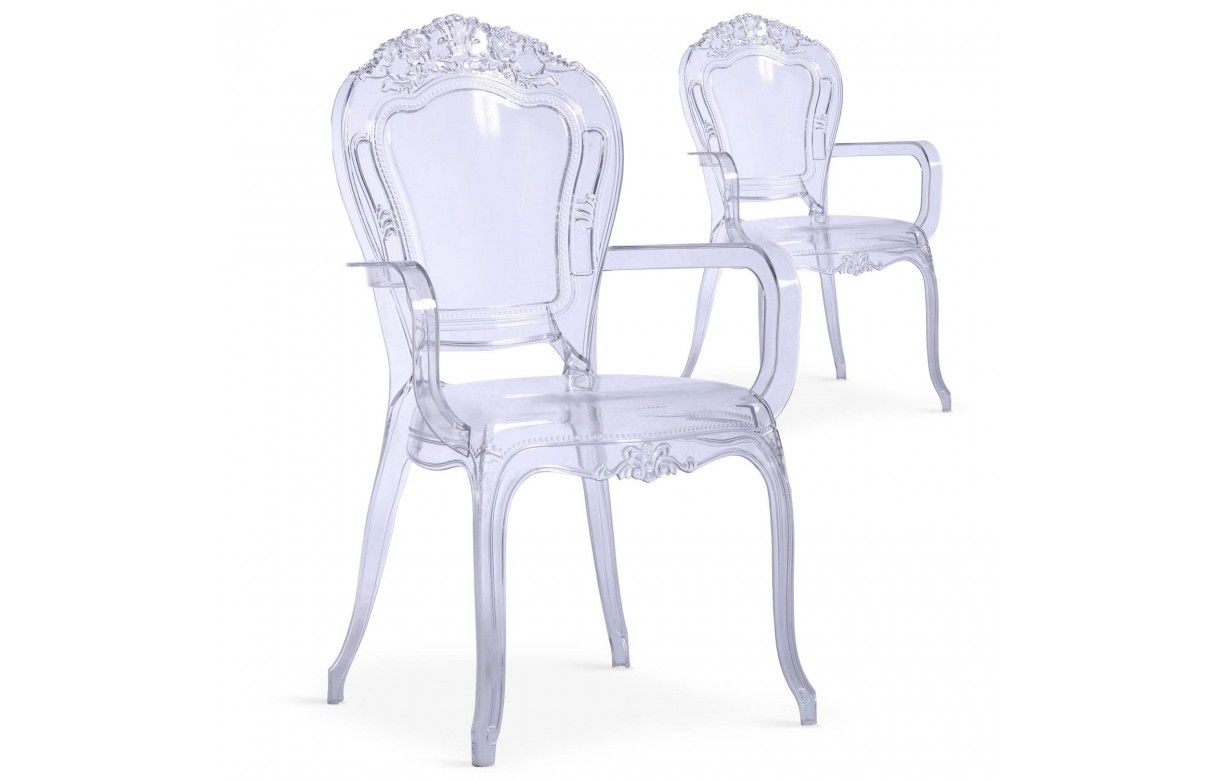 Chaise avec accoudoirs style baroque transparente lot de 2 for Chaise baroque avec accoudoir