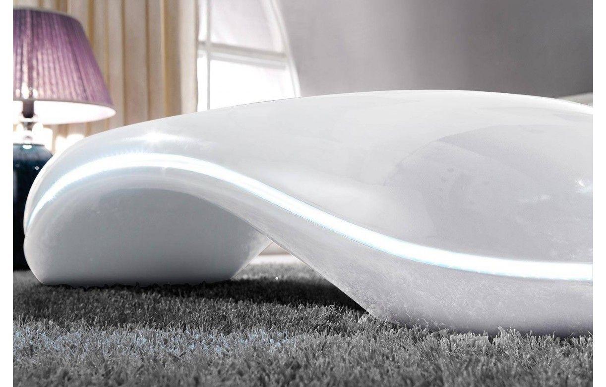 Table basse ovale blanche avec contour clairage led - Table basse blanche ovale ...