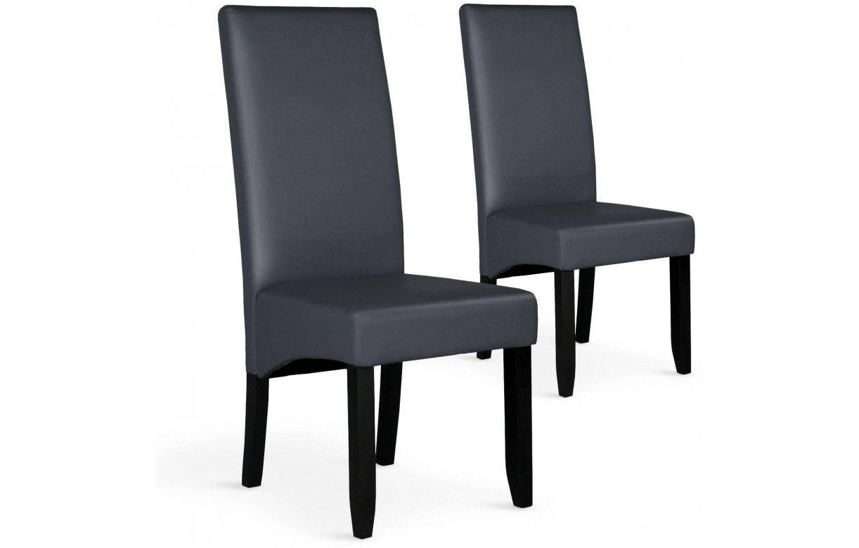Chaise en simili cuir haut dossier lot de 2 for Chaises dossier haut salle a manger