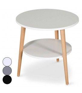 Table basse scandinave ronde double plateau Tina