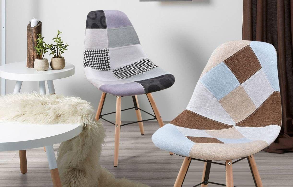 Chaise design scandinave patchwork marron et beige lot de 2 for Chaise scandinave patchwork bleu