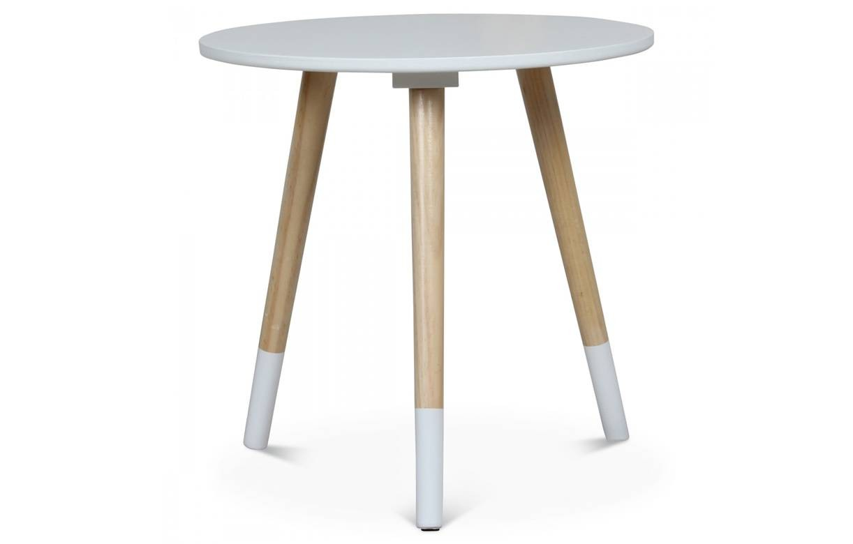 Petite table basse ronde scandinave h40cm 4 coloris for Table scandinave bois