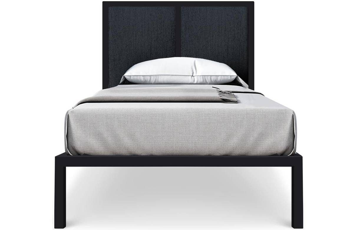 lit une place en m tal noir avec t te de lit tissu gris fonc. Black Bedroom Furniture Sets. Home Design Ideas