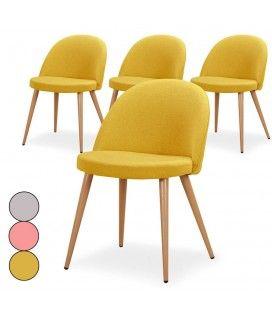 Chaise scandinave en tissu avec dossier bas Mory - Lot de 4