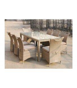 Table d'extérieur en aluminium et 8 chaises tons clairs Lagos