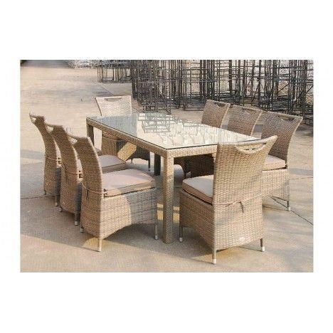 table d 39 ext rieur en aluminium et 8 chaises taupe lagos. Black Bedroom Furniture Sets. Home Design Ideas