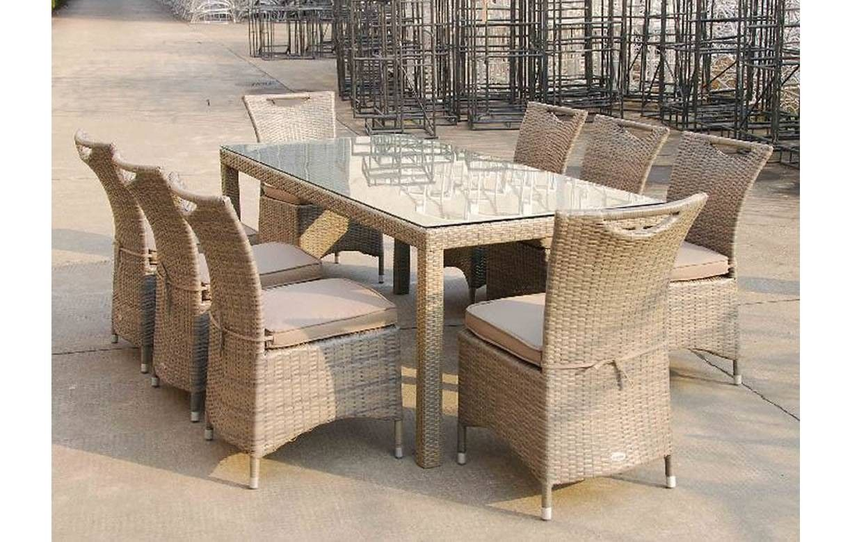 Table d 39 ext rieur en aluminium et 8 chaises taupe lagos for Table d exterieur en aluminium