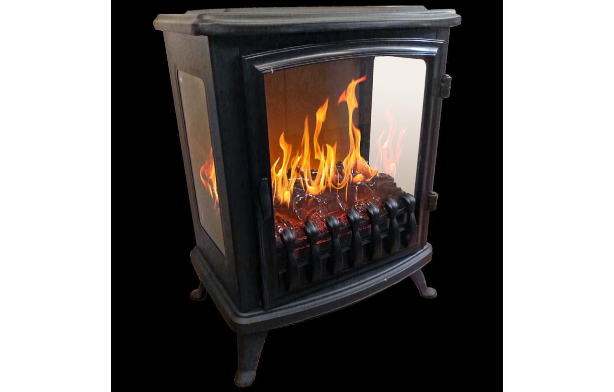 Foyer chemin e lectrique noire flamme 3d fire glass - Chauffage electrique imitation cheminee ...
