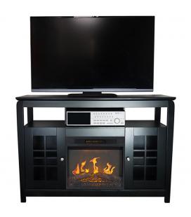 Meuble TV cheminée électrique avec tablettes et portes Osaka