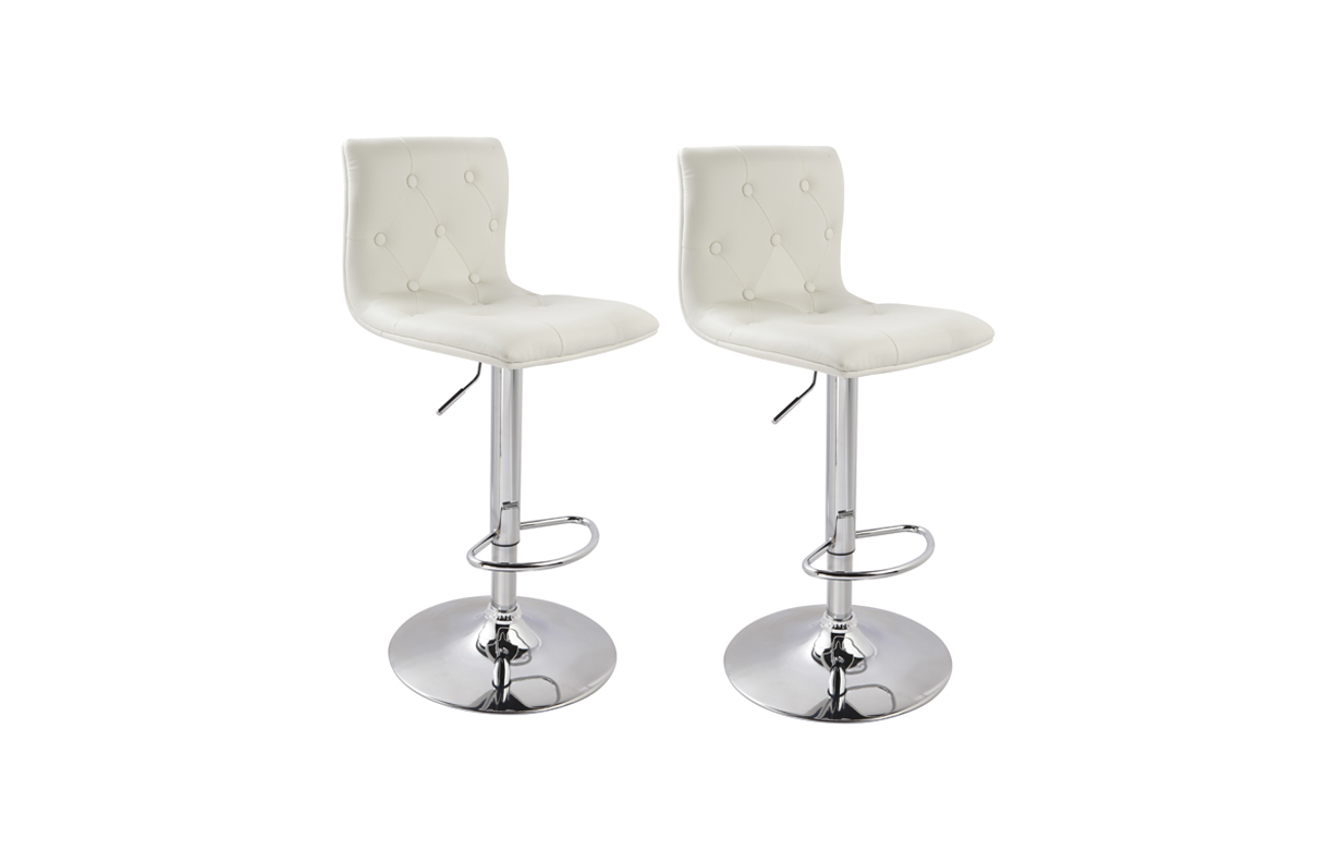 tabouret de bar capitonn en simili cuir lot de 2. Black Bedroom Furniture Sets. Home Design Ideas