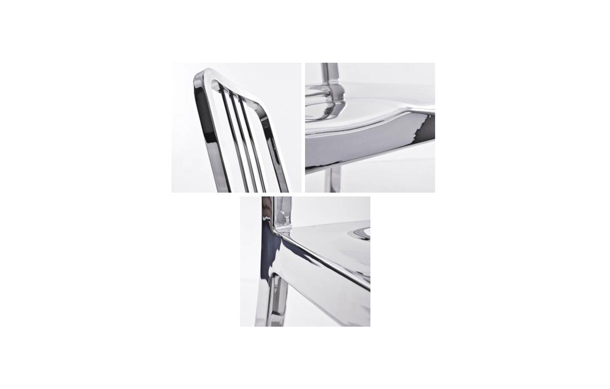 Lot de 2 chaises navy design en inox poli brillant for Chaise inox