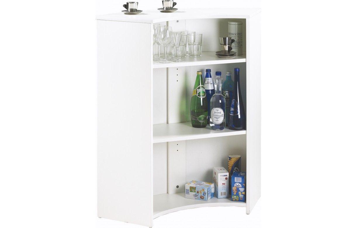 Comptoir de bar blanc avec rangement for Meuble bar comptoir design