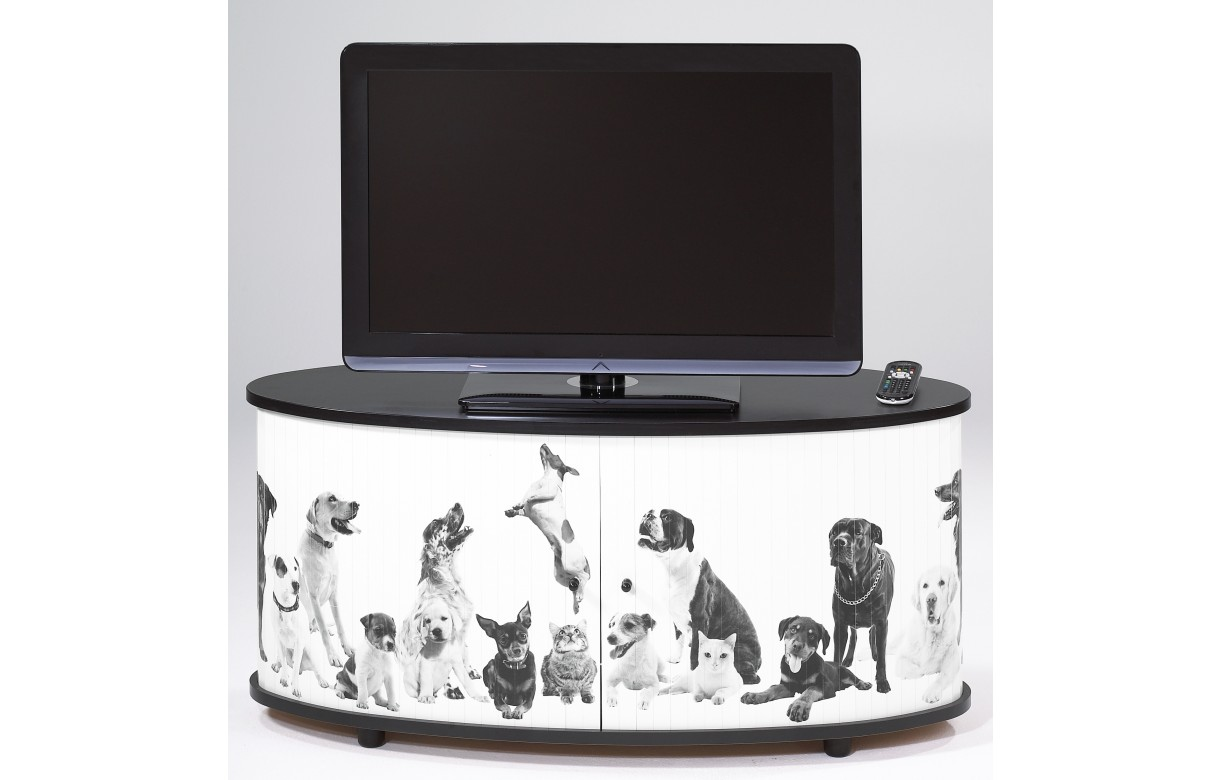 meuble tv design blanc ou noir chiens et chats decome store. Black Bedroom Furniture Sets. Home Design Ideas