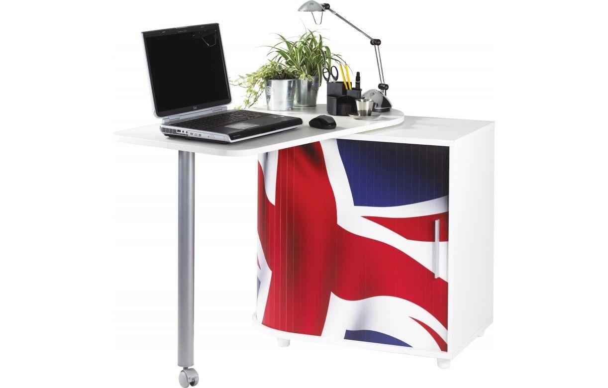 bureau pivotant informatique noir ou blanc london decome. Black Bedroom Furniture Sets. Home Design Ideas