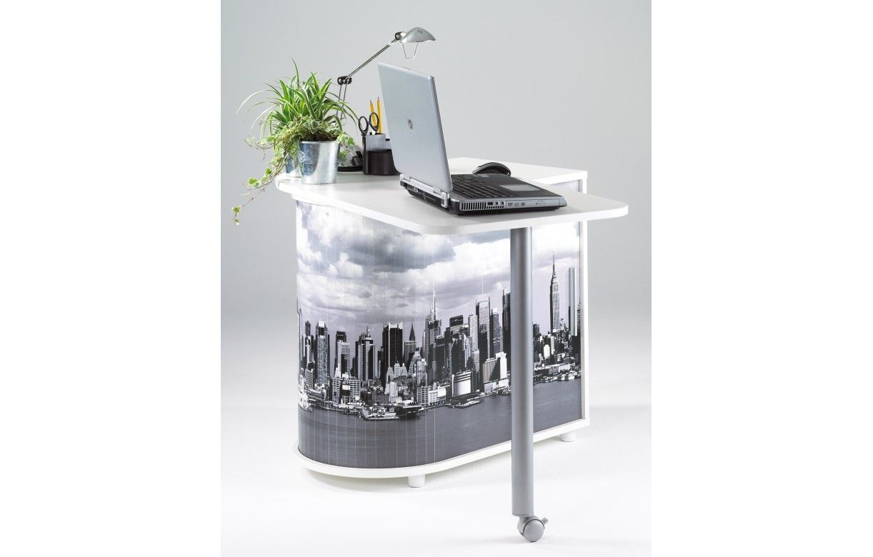 Bureau pivotant informatique blanc ou noir new york for Bureau multimedia blanc