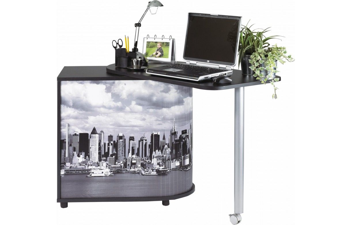 Bureau pivotant informatique blanc ou noir new york for Meuble bureau new york