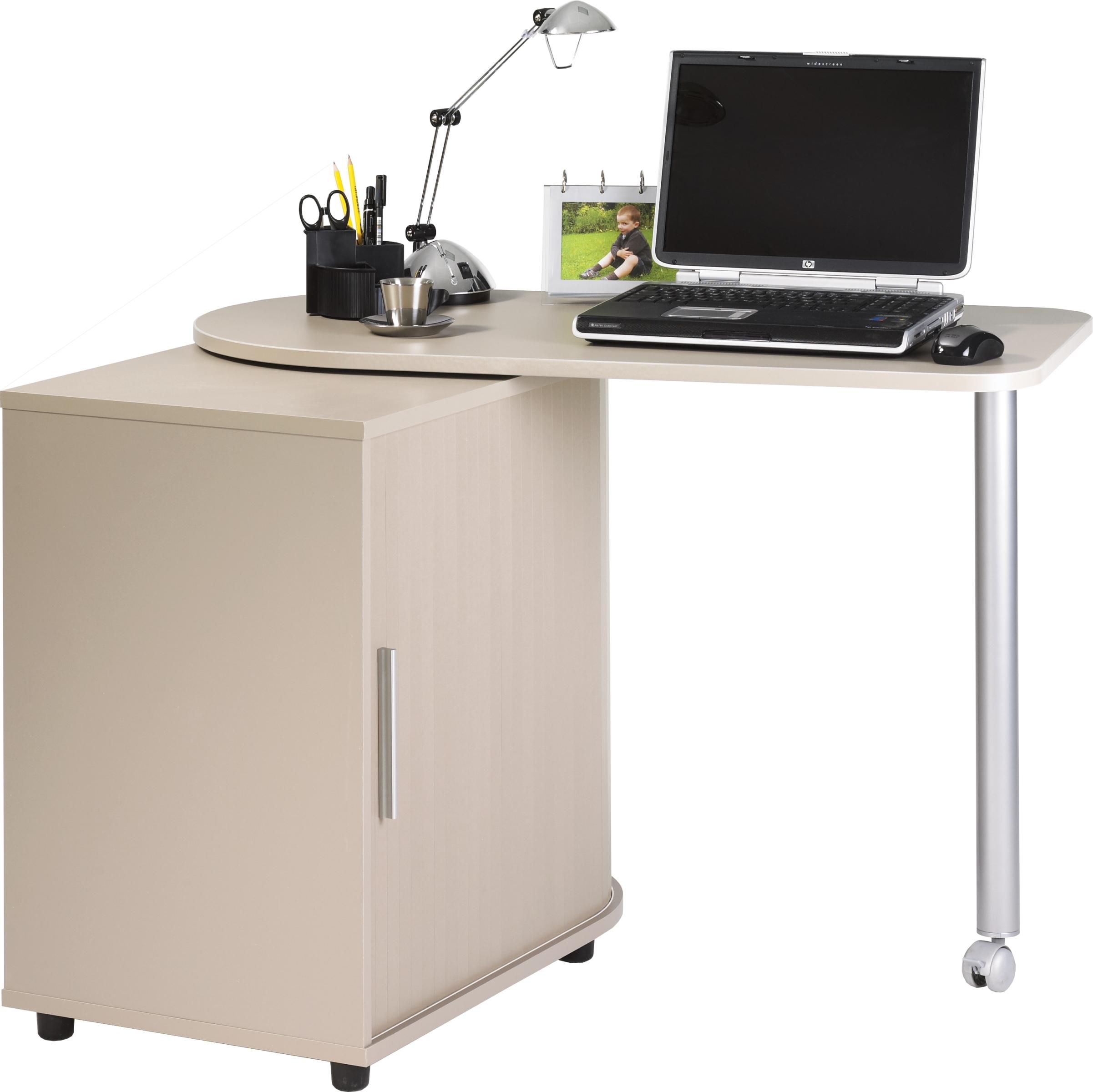 Fauteuil de bureau pivotant en bois - Bureau gris taupe ...